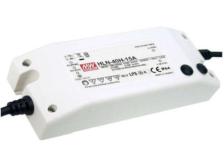 Mean Well HLN-40H-12A LED driver, LED transformator Konstantspänning, Konstantström 40 W 3.33 A 7.2 - 12 V/DC dimbar, PFC-krets, Överbelastningsskydd,