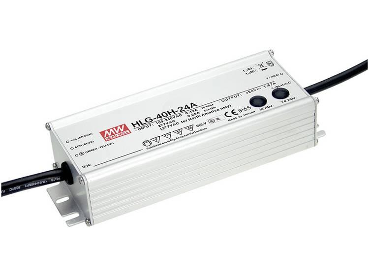 Mean Well HLG-40H-12A LED driver, LED transformator Konstantspänning, Konstantström 39 W 3.33 A 12 V/DC PFC-krets, Överbelastningsskydd, justerbar