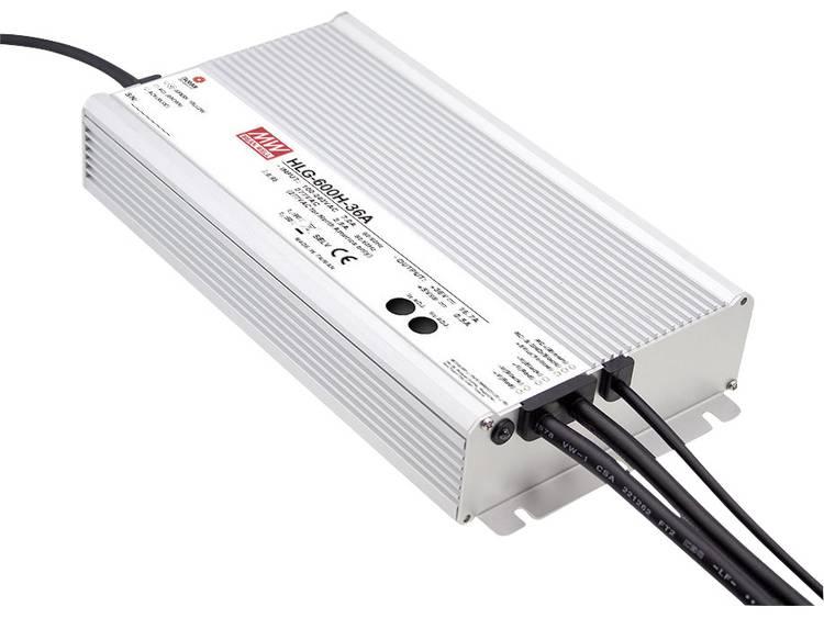 Mean Well HLG-600H-12A LED driver, LED transformator Konstantspänning, Konstantström 480 W 40 A 12 V/DC PFC-krets, Överbelastningsskydd, justerbar