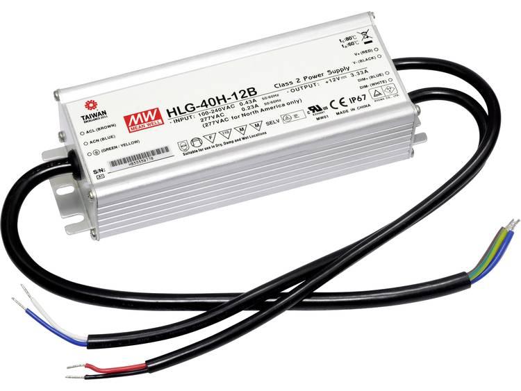 Mean Well HLG-40H-12B LED driver, LED transformator Konstantspänning, Konstantström 39 W 3.33 A 7.2 - 12 V/DC dimbar, PFC-krets, Överbelastningsskydd