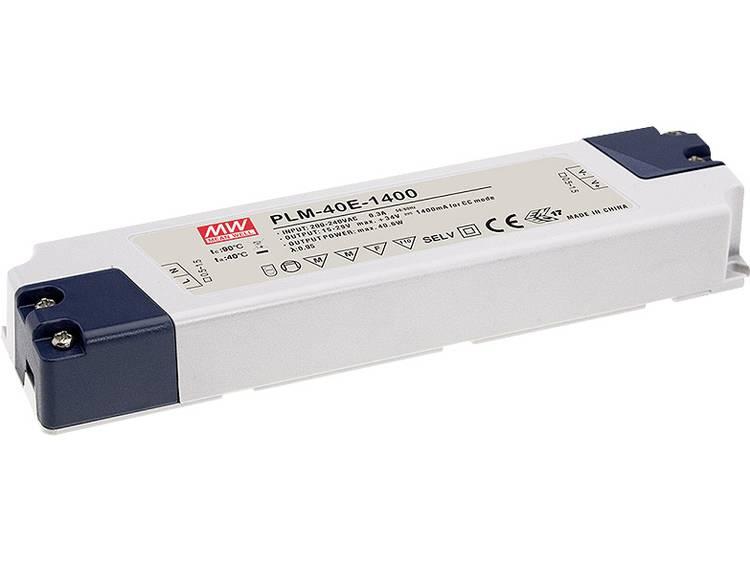 Mean Well PLM-40E-1750 LED driver Konstantström 40.25 W 1.75 A 12 - 23 V/DC inte dimbar, möbelregistrering, Överbelastningsskydd