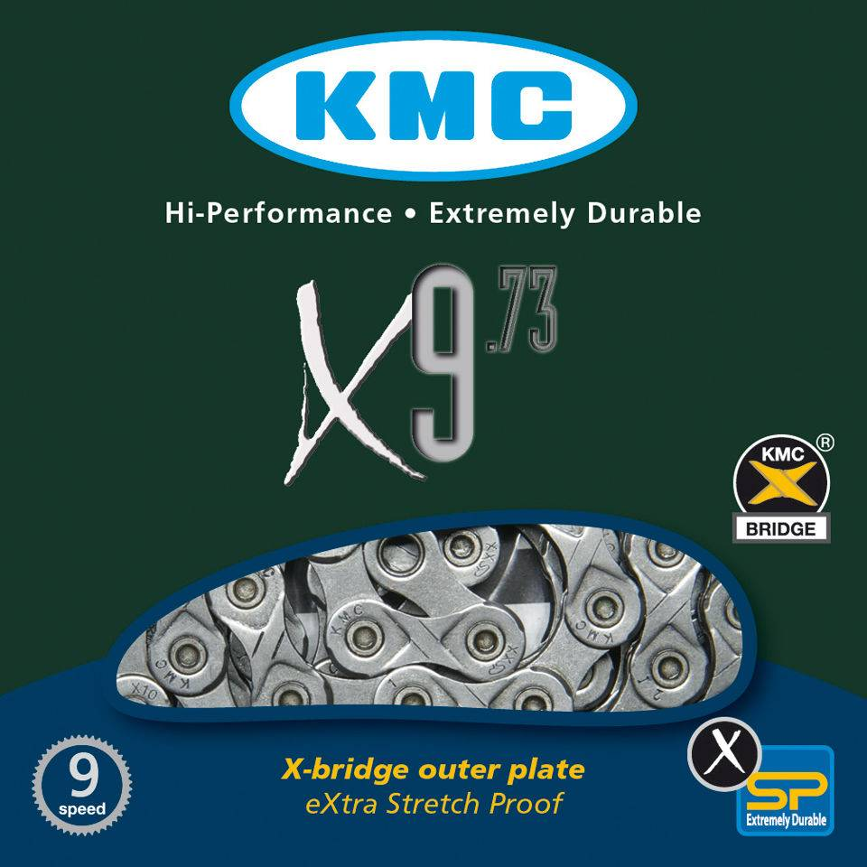 KMC X9-93 GY/GY 9 Speed Chain - 116 Links - Silver