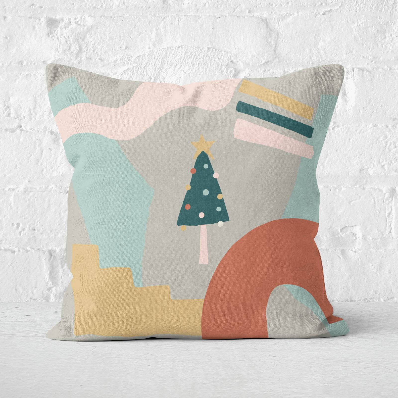 By IWOOT Abstract Christmas Tree Square Cushion - 60x60cm - Soft Touch-