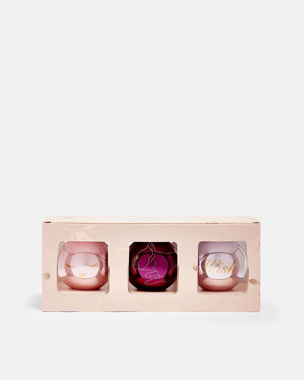 Ted Baker Christmas Bauble Trio  - Light Pink - Size: One Size