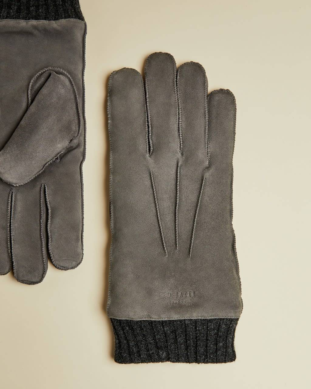 Ted Baker Suede Cuffed Glove  - Grey - Size: Small