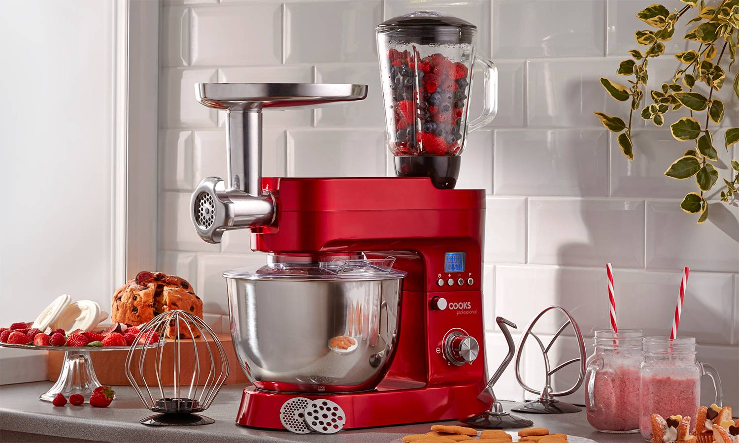 134.99 Cooks Professional 1200W Stand Mixer: Red/With Accessories