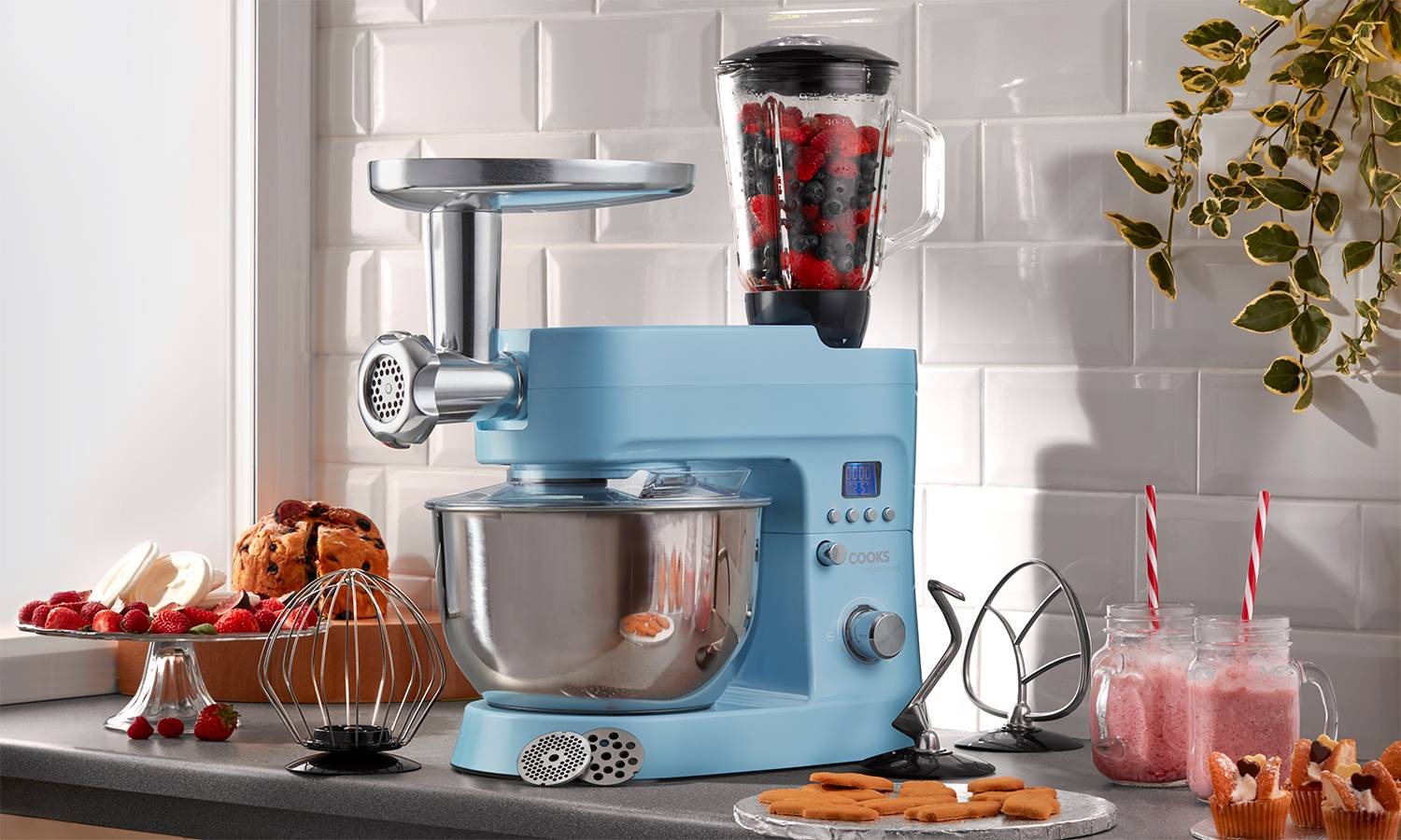 134.99 Cooks Professional 1200W Stand Mixer: Retro Blue/With Accessories