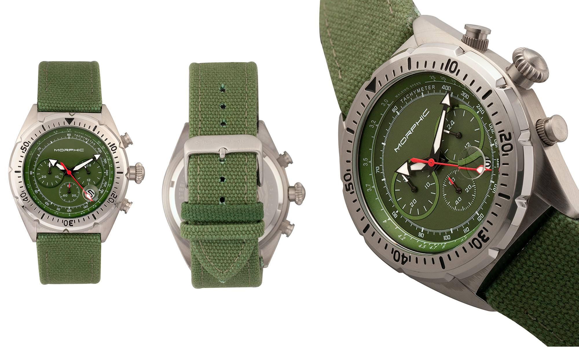 7a51c678c Morphic Men's Morphic M53 Series Watch: Silver-Coloured Case with Olive Dial