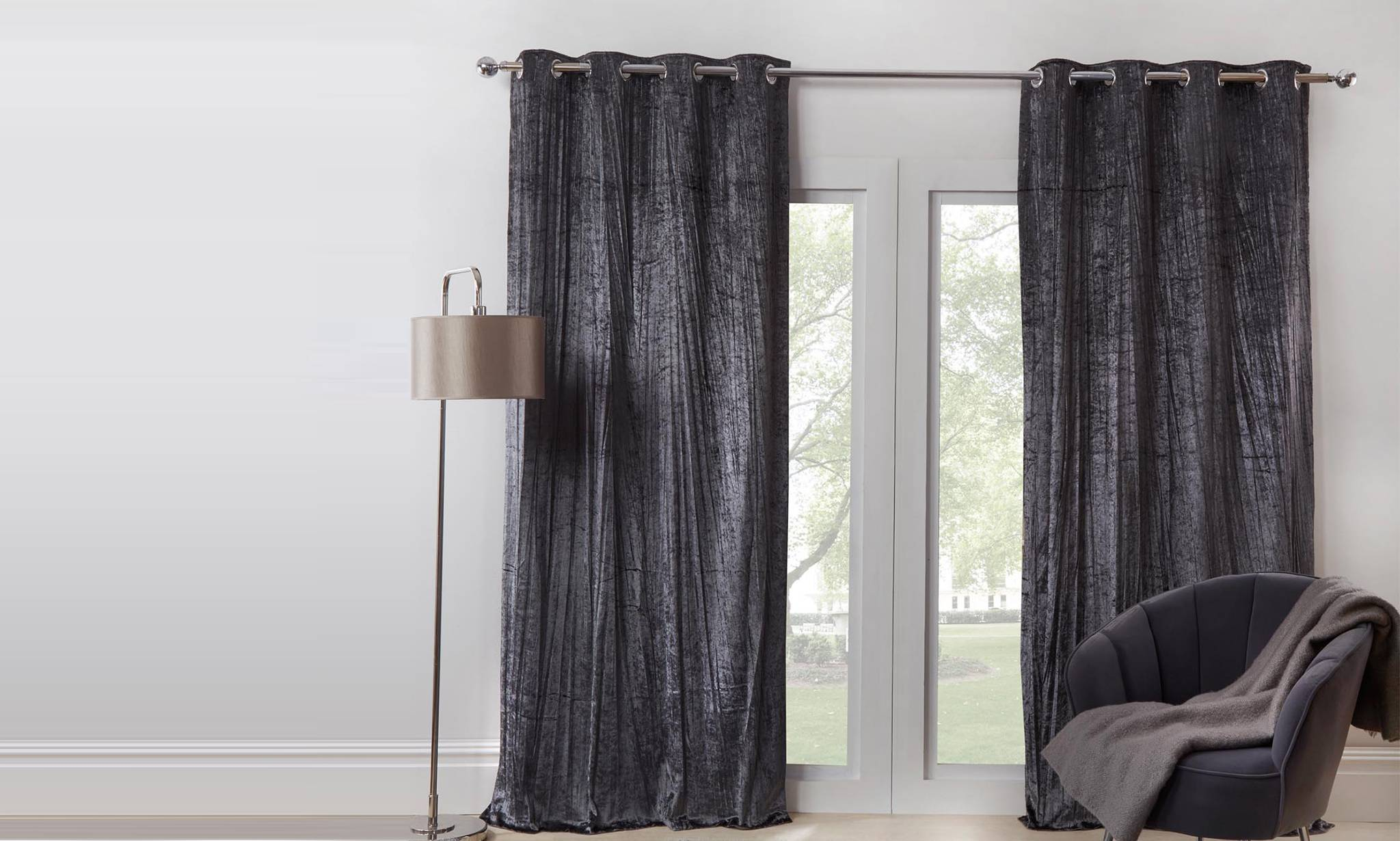 scion kukkia lined curtains ink charcoal 168x229cm