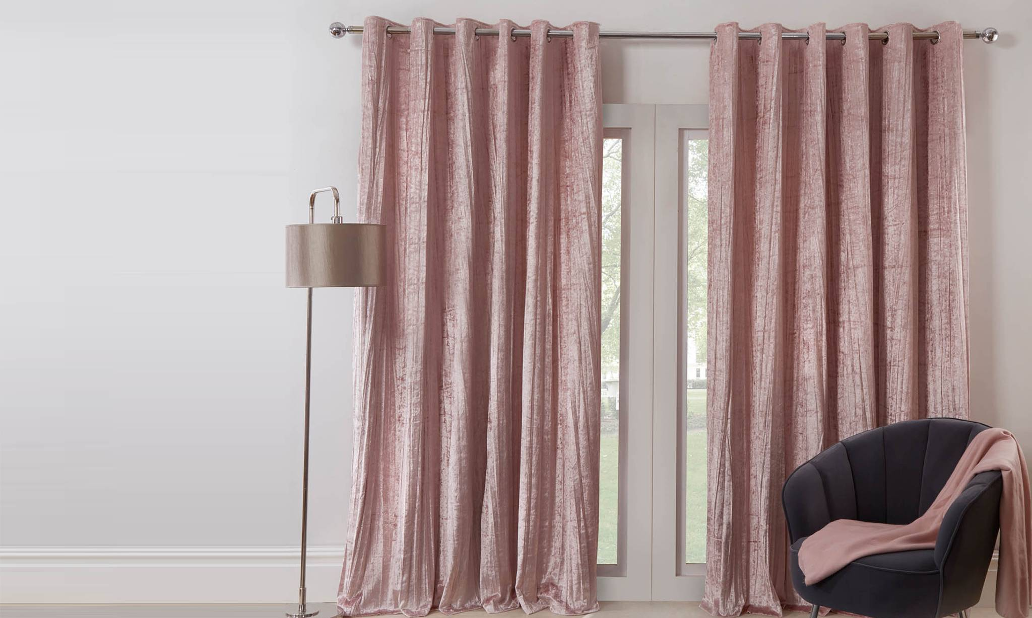 scion nuevo lined curtains blush charcoal 168x183cm