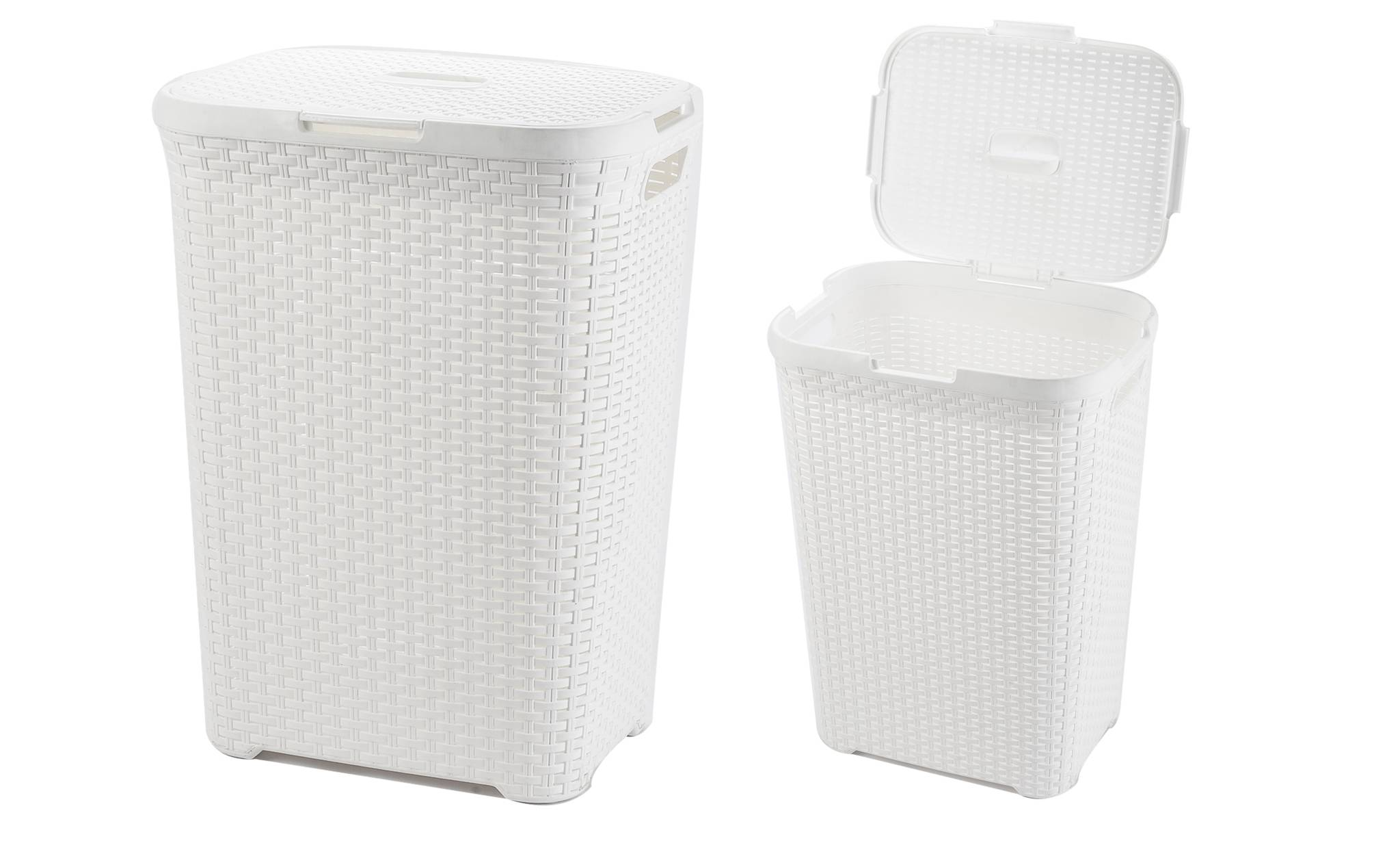 Groupon Goods Rattan-Effect Laundry Basket: White