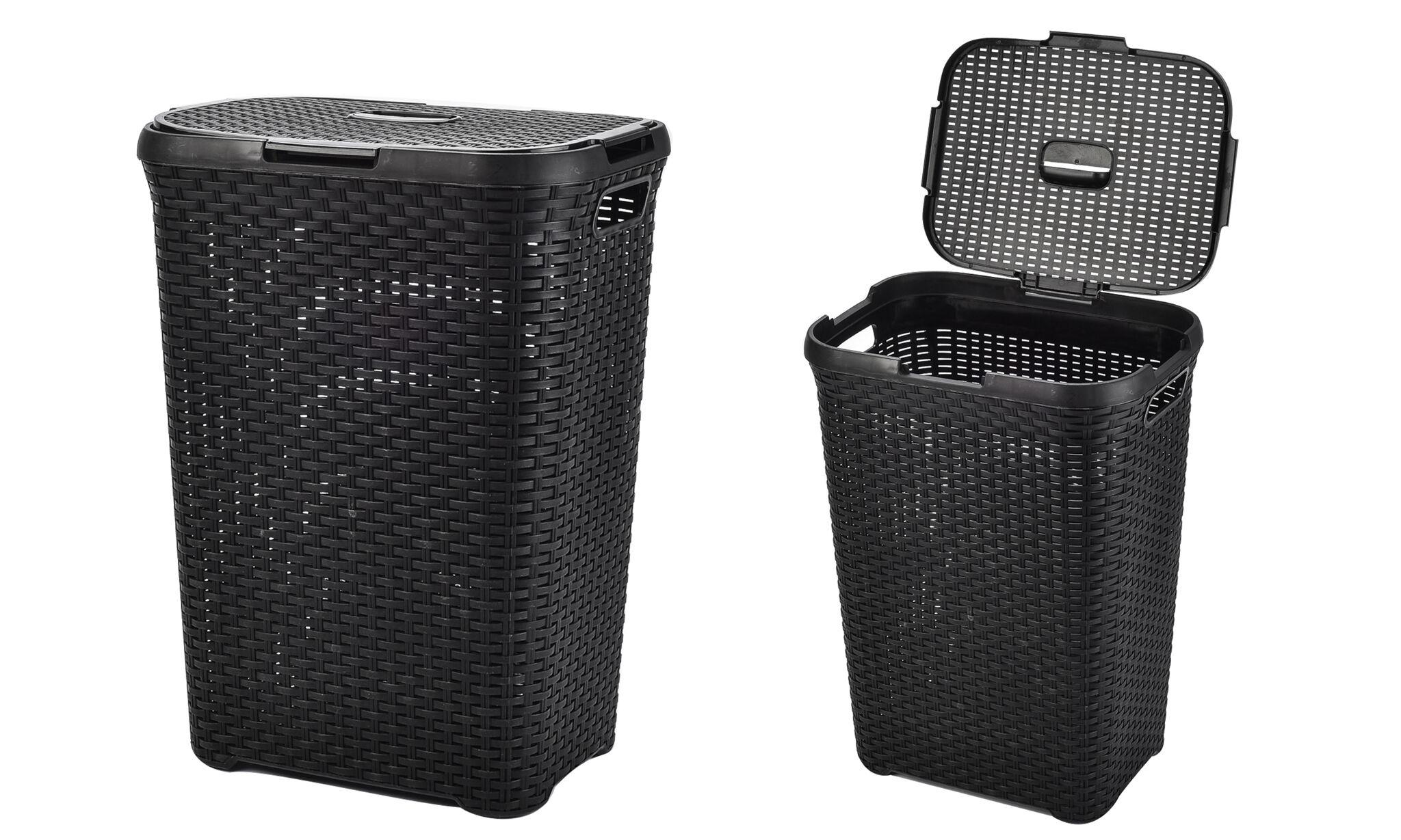 Groupon Goods Rattan-Effect Laundry Basket: Black