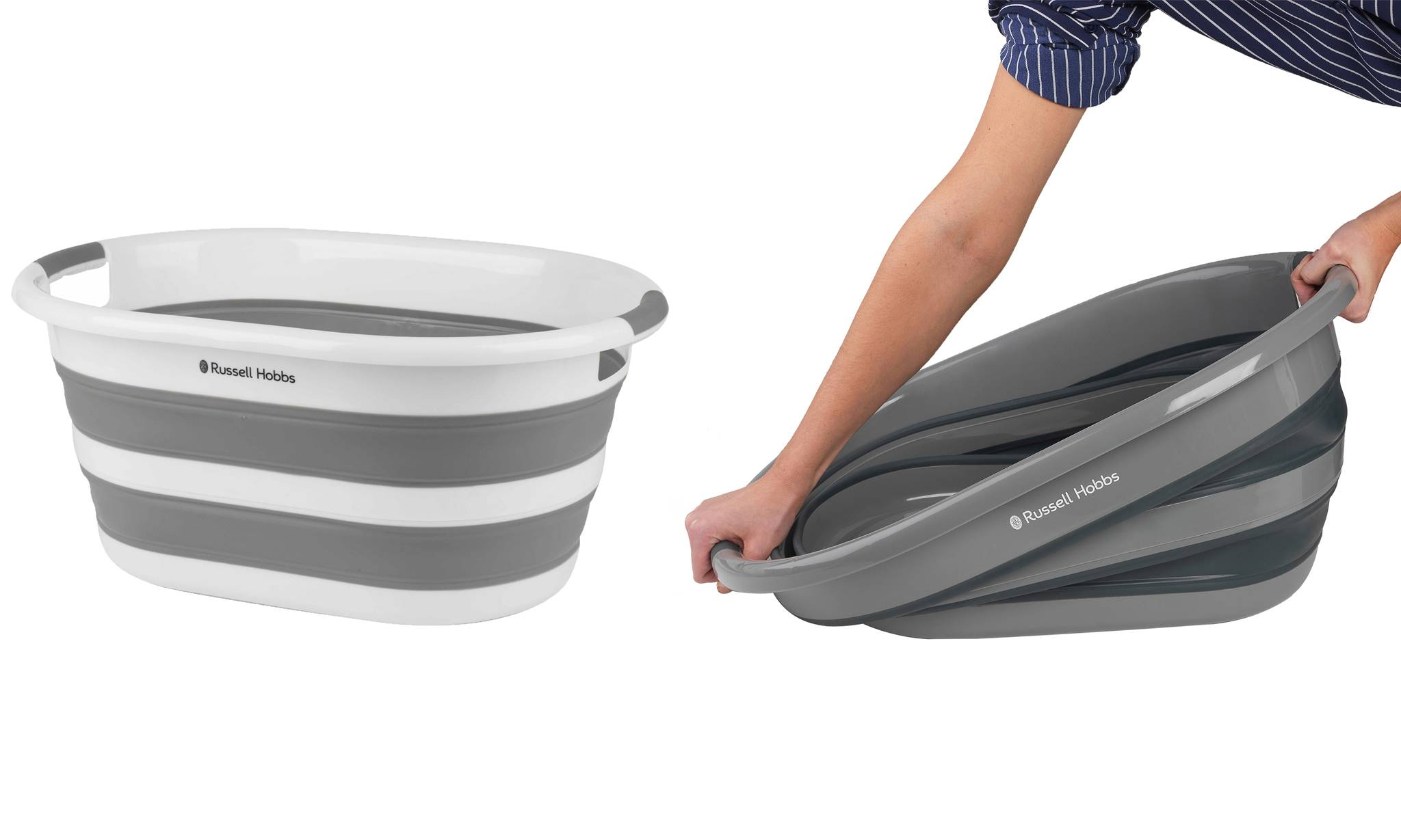 Russell Hobbs Oval Collapsible Laundry Basket: White