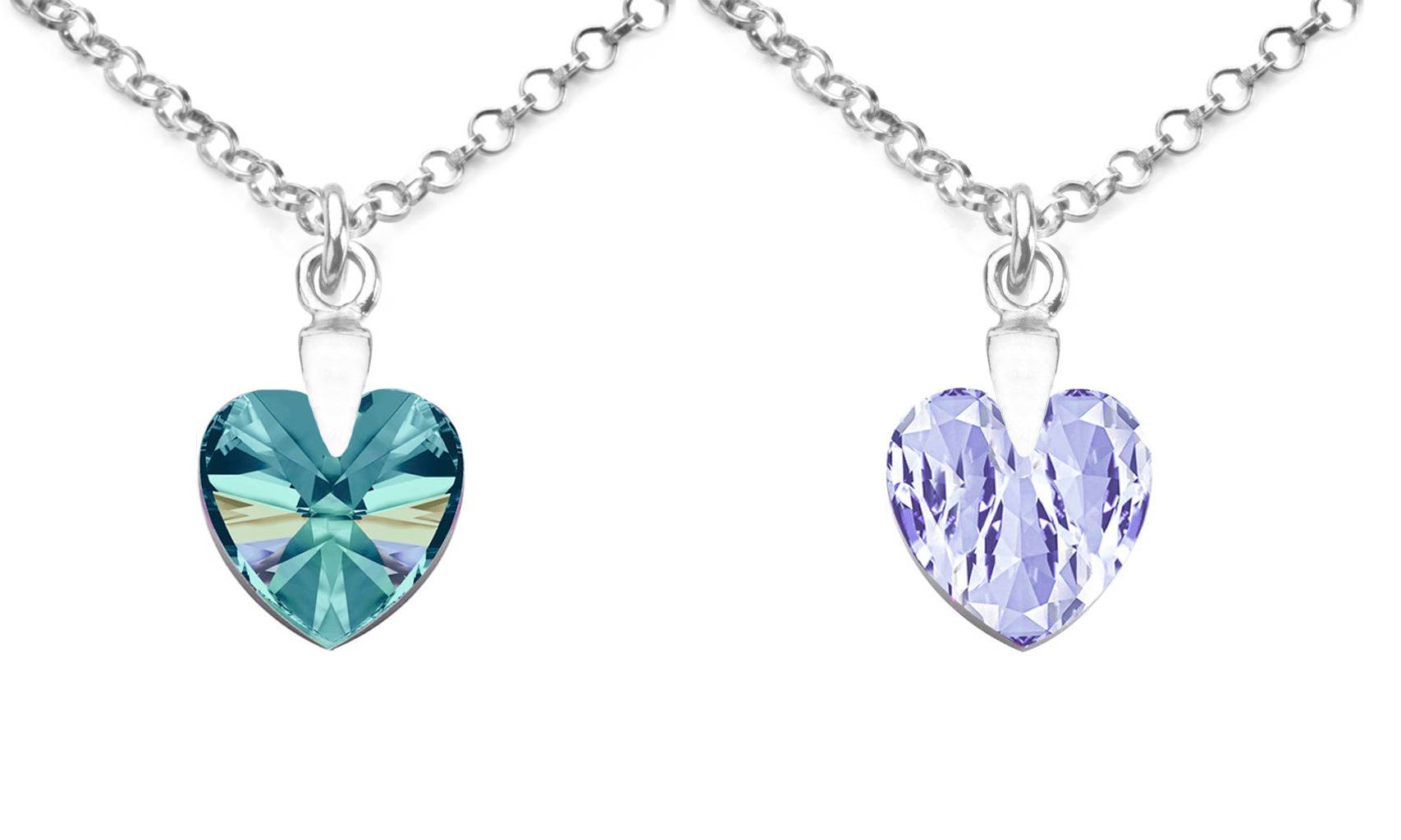 179.98 Ah! Jewellery Silver Heart Necklace with Crystals from Swarovski®: Blue Zircon AB and Lavender/Two