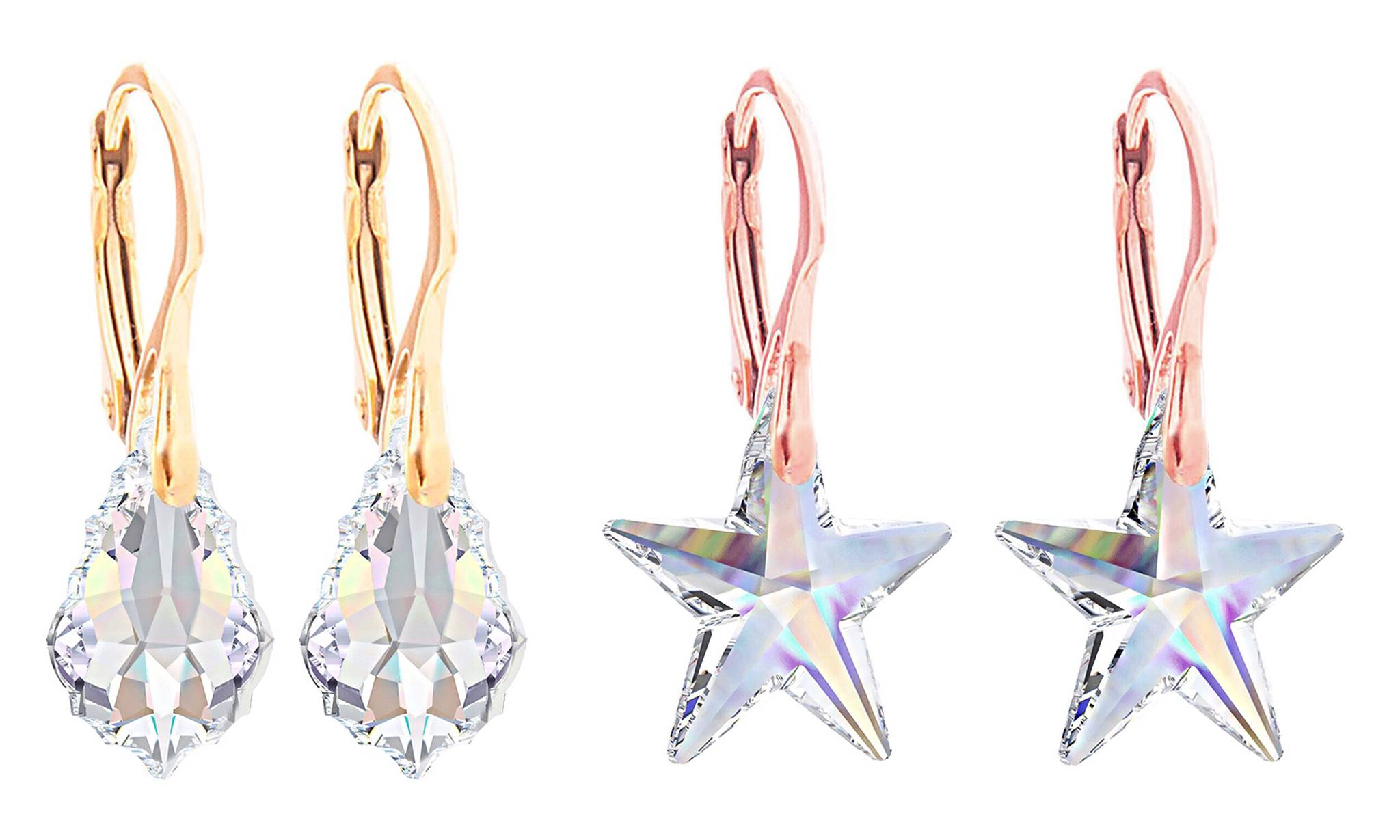 Ah! Jewellery Earrings with Crystals from Swarovski®: Star, Baroque / Two Pairs