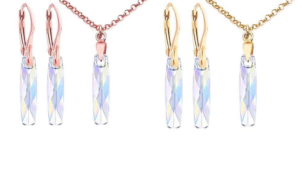 Ah! Jewellery® Ah! Jewellery® Aurore Boreale Column Jewellery: Gold and Rose Gold Colour / Two Sets - One of Each