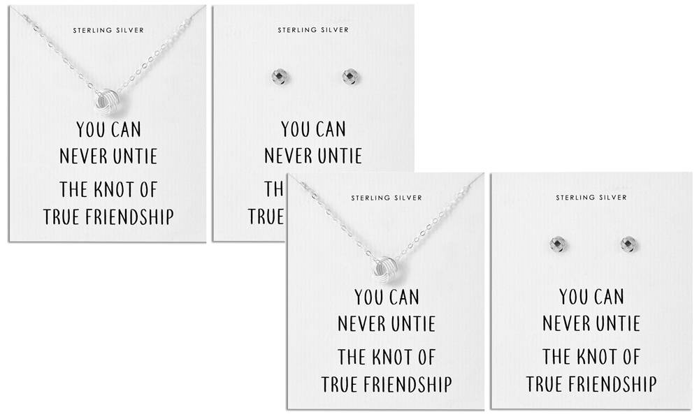 Philip Jones Sterling Silver Quote Jewellery: Earrings and Necklace/Two Sets