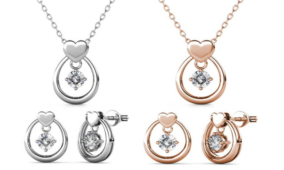 28.99 Love Drop Jewellery made with Crystals from Swarovski®: Earrings and pendant set/Silver and rose gold/Two