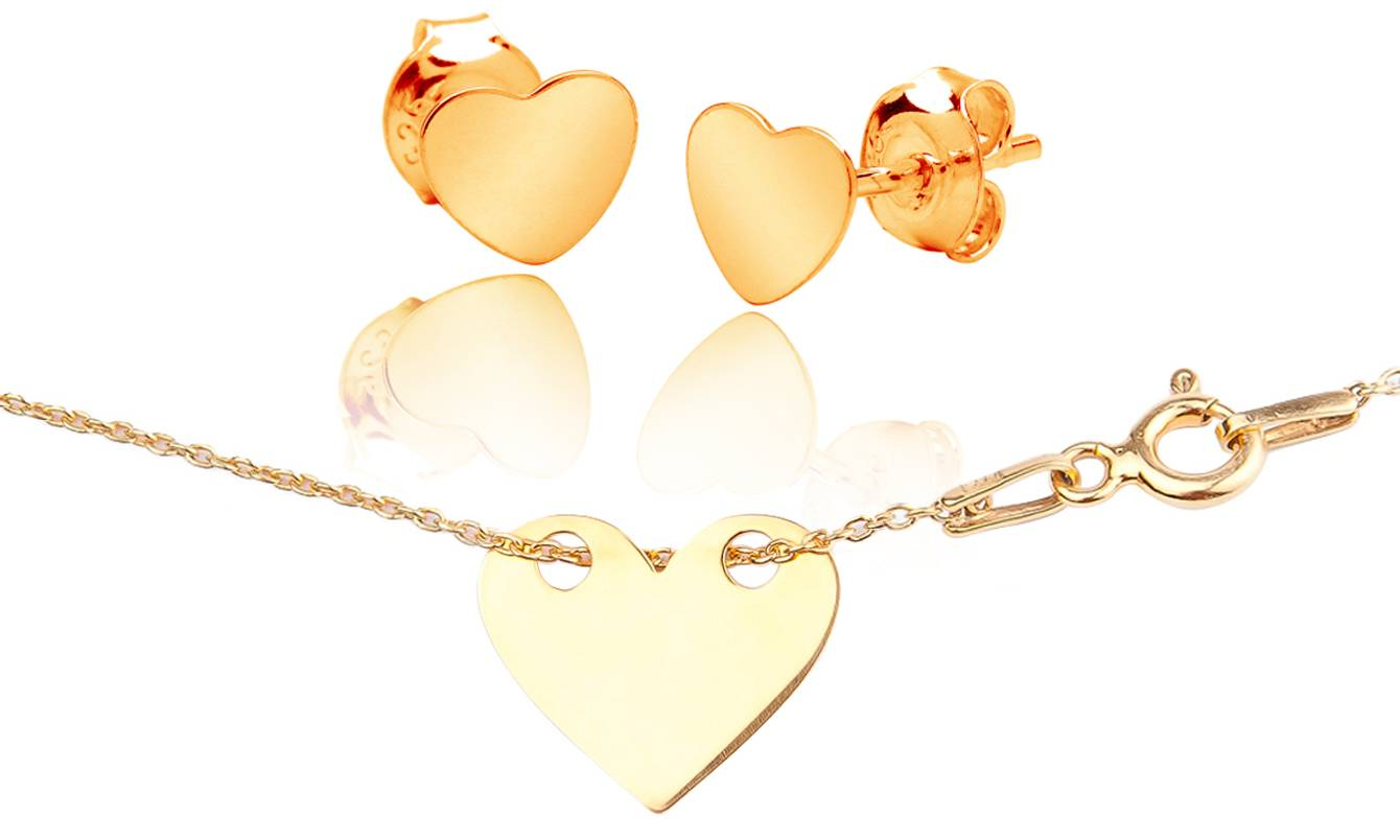 149.98 Ah! Jewellery: Two/Solid Heart Necklace and Studs Gold