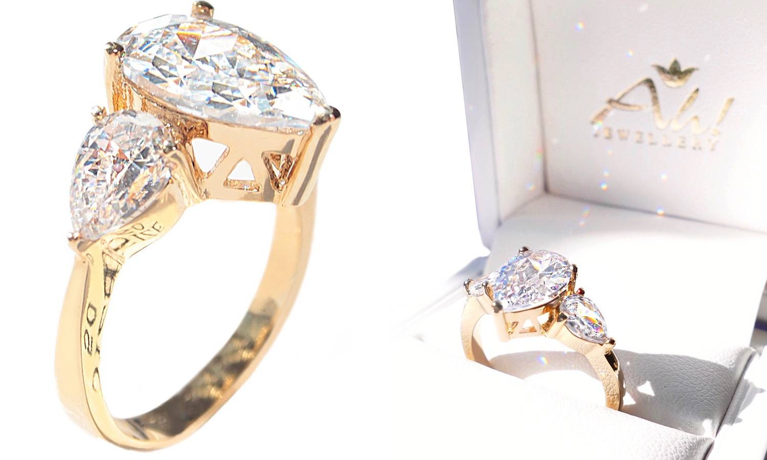 189.00 Ah! Jewellery Gold-Filled 8mm Pear Cut Simulated Diamond Ring: R-S