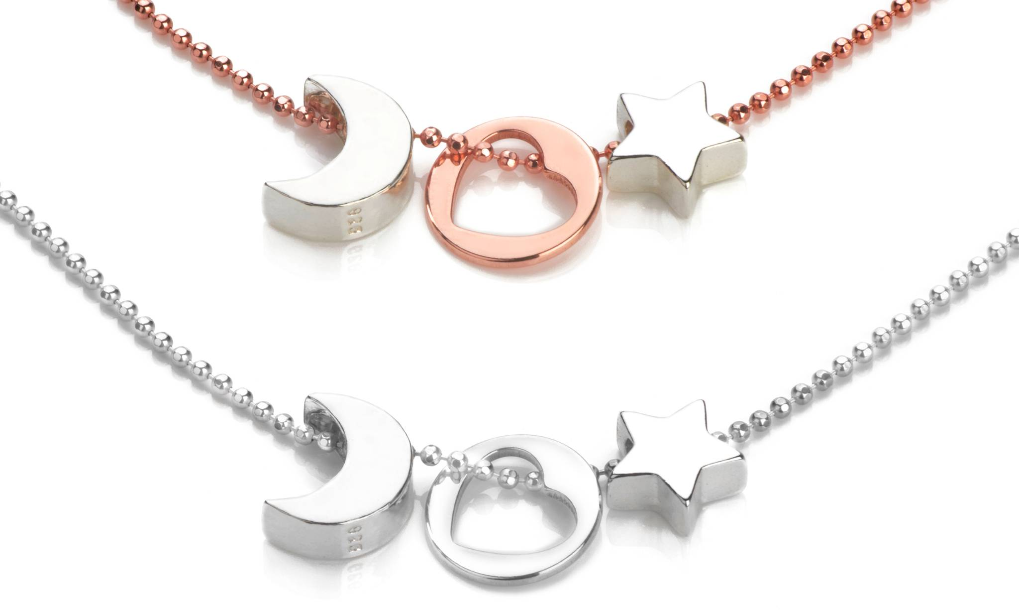 Ah! Jewellery Two-Tone Sterling Silver Heart-Moon-Star Pendant Necklace: Silver and Rose Gold, Two