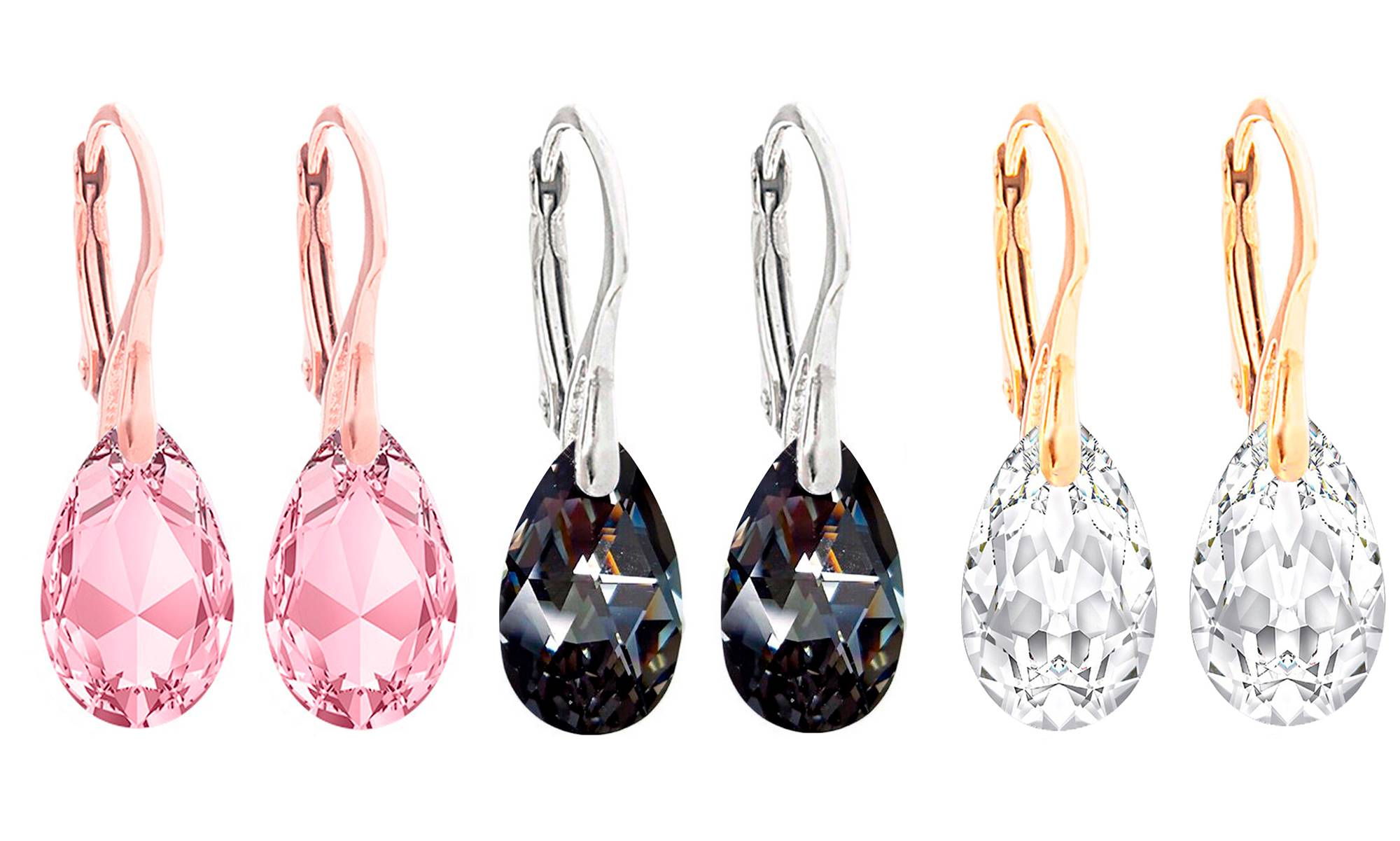 Ah! Jewellery® Ah! Jewellery® Ah! Jewellery Earrings: Light Rose Pear, Crystal Pear and Silver Night Pear - Three Pairs