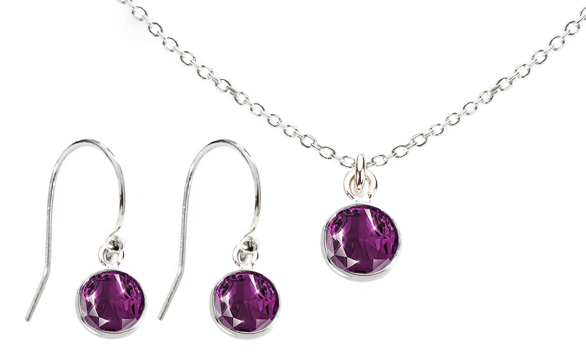 Ah! Jewellery Dangle Set with Crystals from Swarovski®: Amethyst Crystals/Dangle Set/Silver