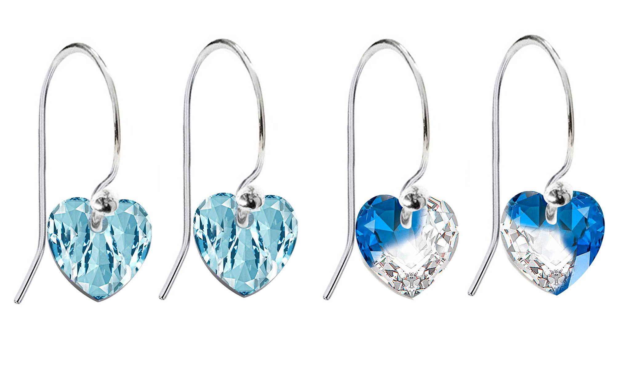 Ah! Jewellery® Ah! Jewellery® Ah! Jewellery Fish Hook Earrings with Crystals from Swarovski®: Aqua and Crystal-Mont Blend