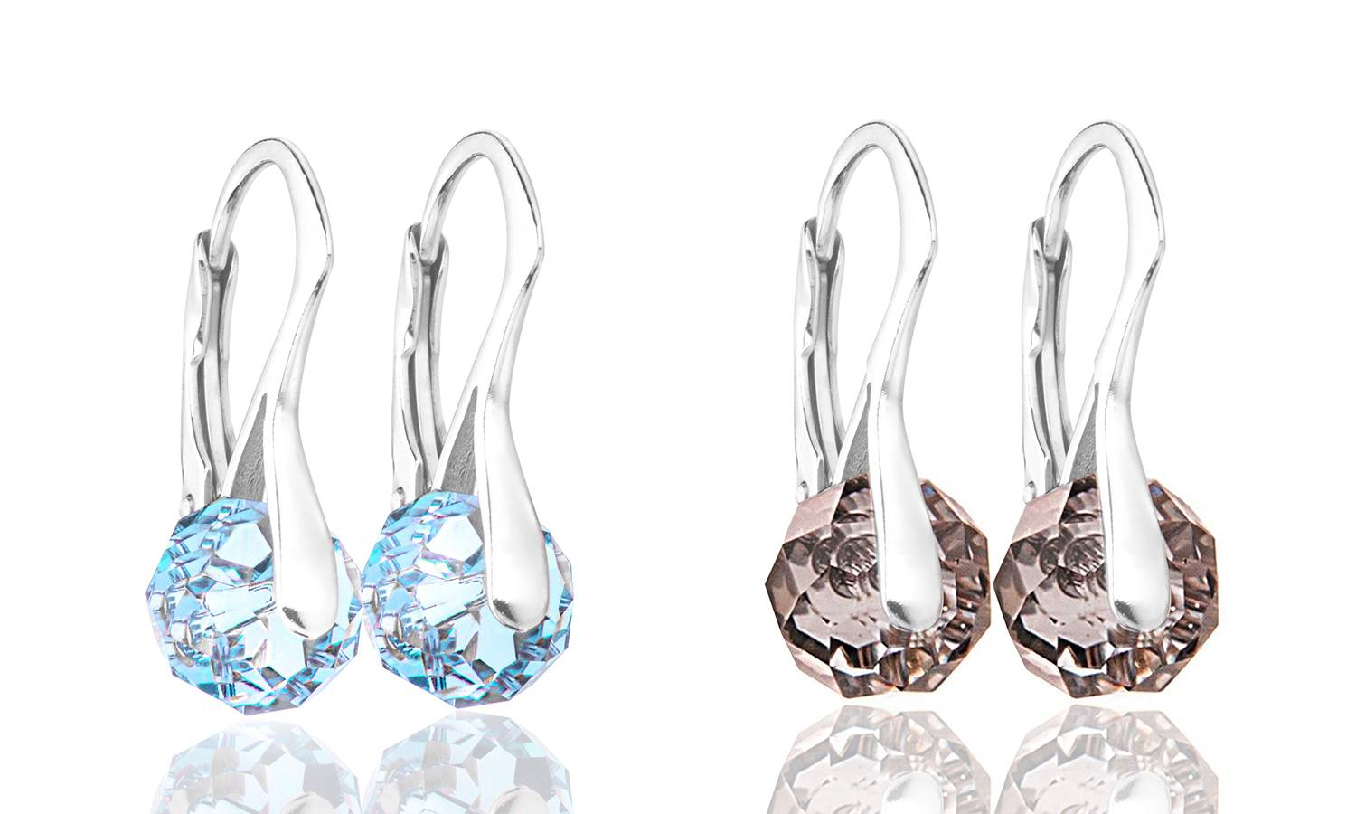 Ah! Jewellery Briolette Earrings with Crystals from Swarovski®: Aquamarine and Silver Night/Two Pairs