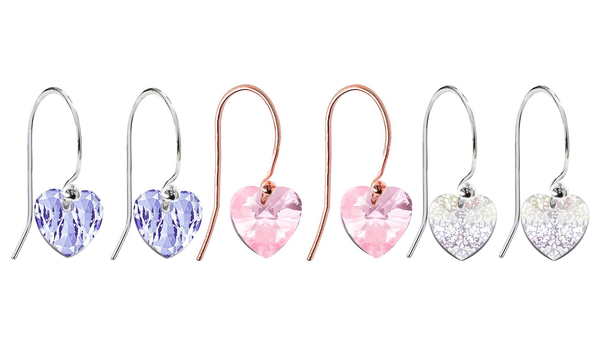 Ah! Jewellery® Ah! Jewellery® Ah! Jewellery Fish Hook Earrings with Crystals from Swarovski®: White Patina, Lavender, Rosaline