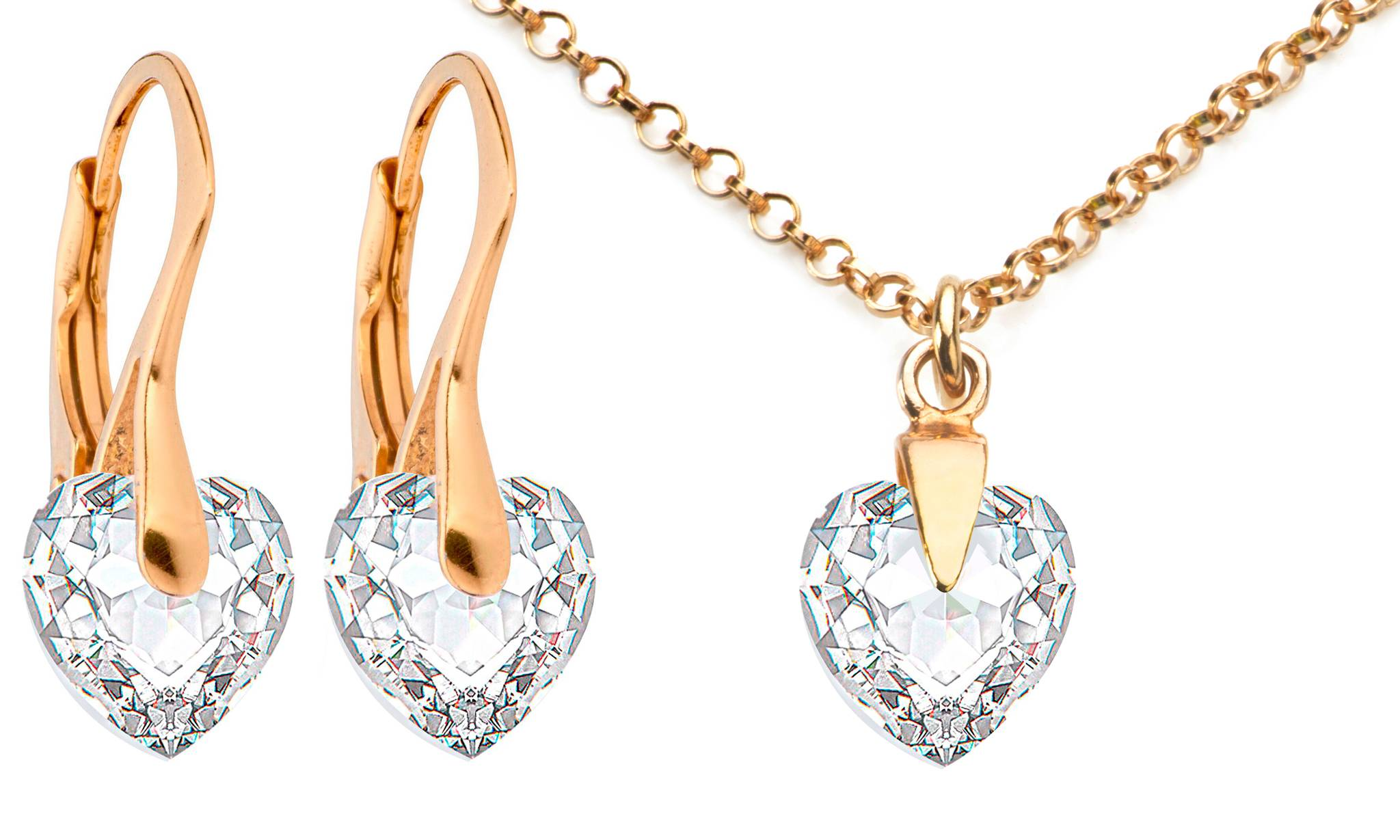 Ah! Jewellery® Ah! Jewellery® Ah! Jewellery Necklace and Earrings Set with Crystals from Swarovski®: Crystal Heart
