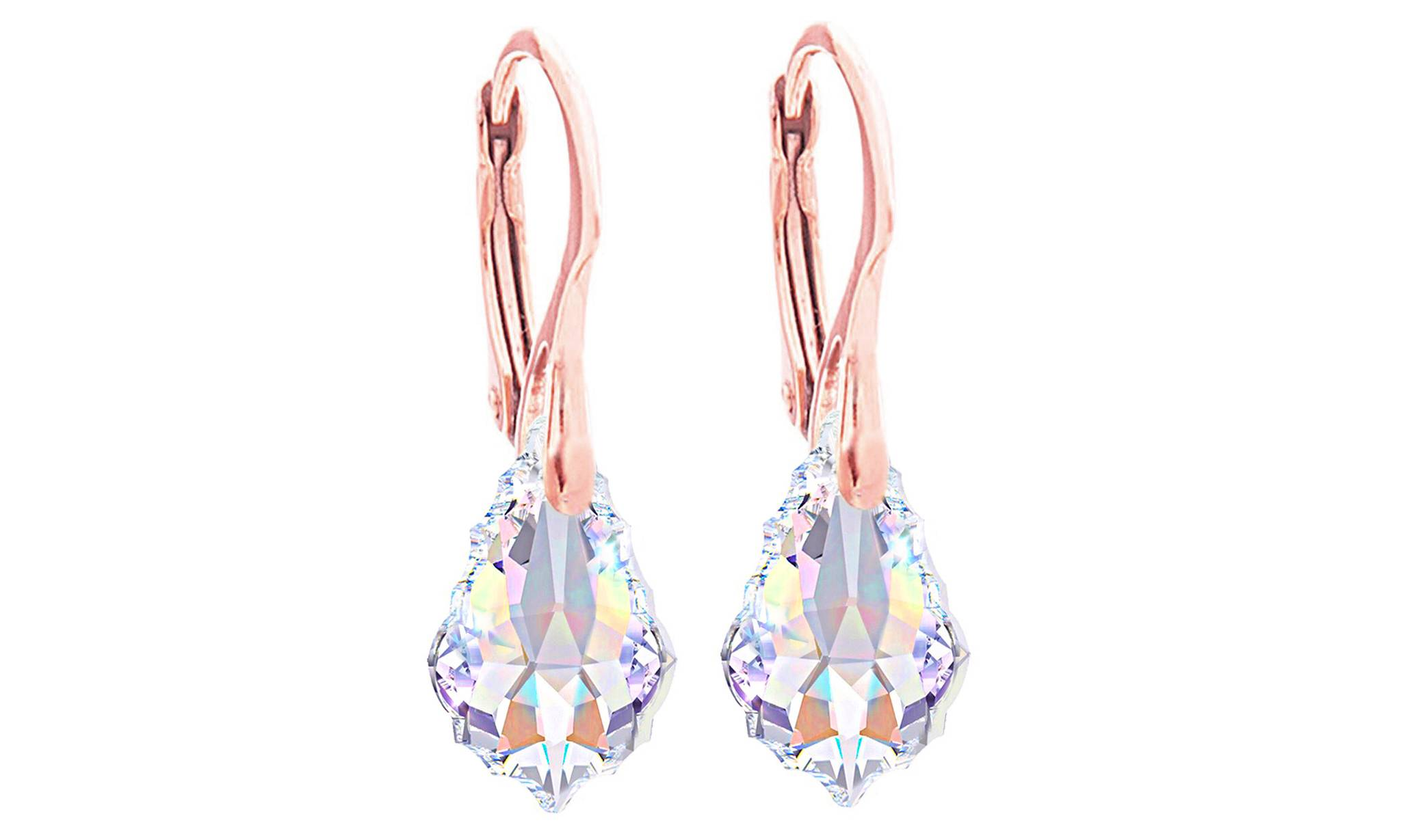 119.00 Ah! Jewellery Baroque Necklace Earrings Set: Aurore Boreale / Earrings / Rose Gold-Coloured