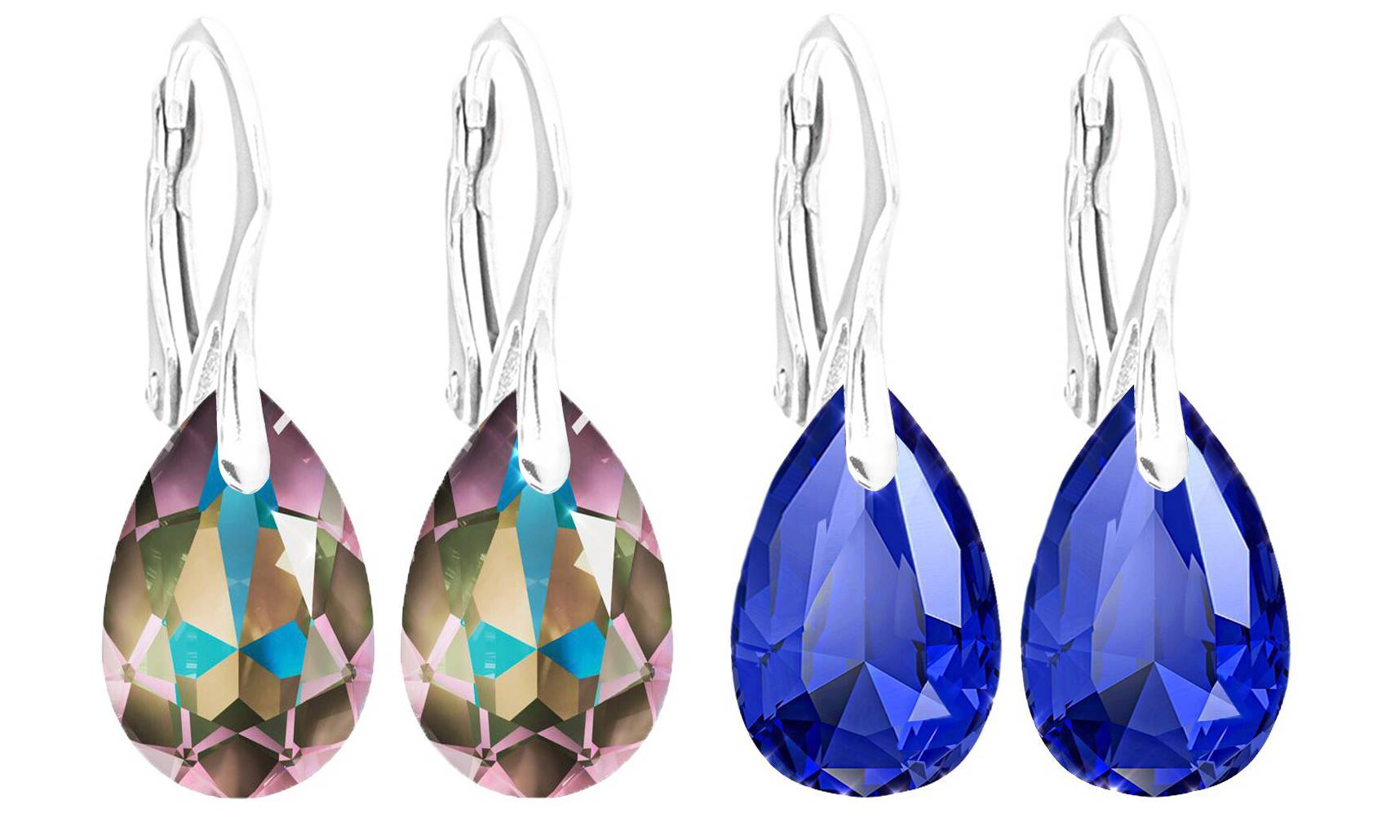 Ah! Jewellery® Ah! Jewellery® Ah! Jewellery Silver Earrings: Paradise Shine and Majestic Blue Pear Crystals / Two Pairs - One of Each