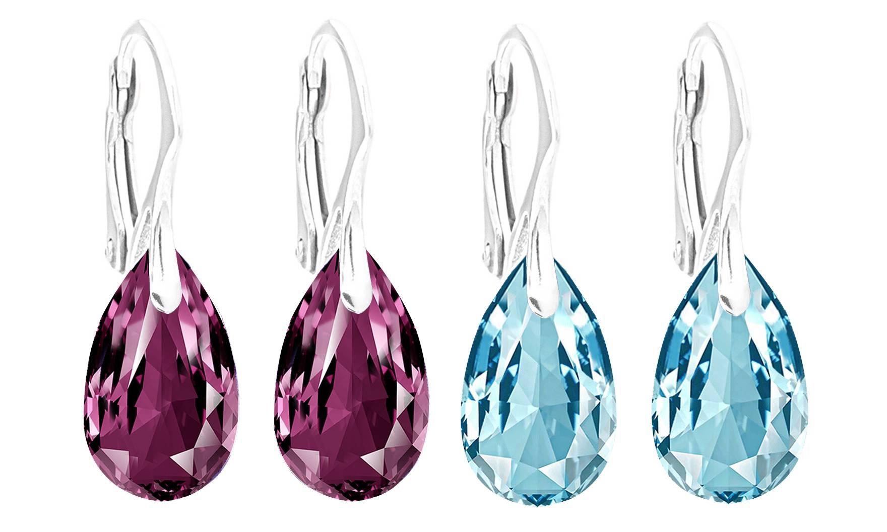 Ah! Jewellery® Ah! Jewellery® Ah! Jewellery Silver Earrings: Amethyst and Aqua Pear Crystals / Two Pairs - One of Each