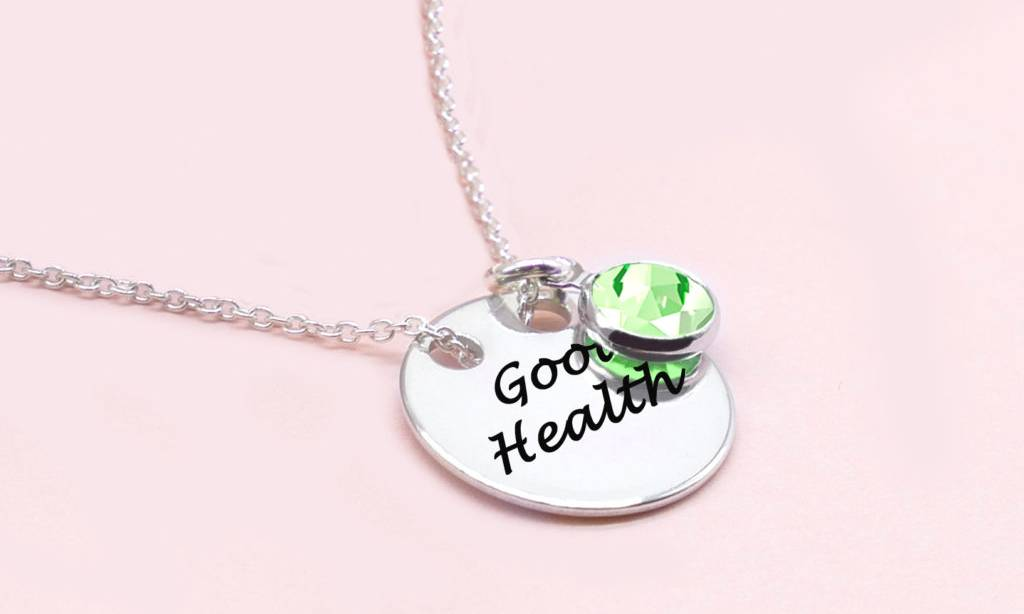 79.99 Ah! Jewellery Crystal Solid Circle Necklace: Good Health with Peridot Crystals