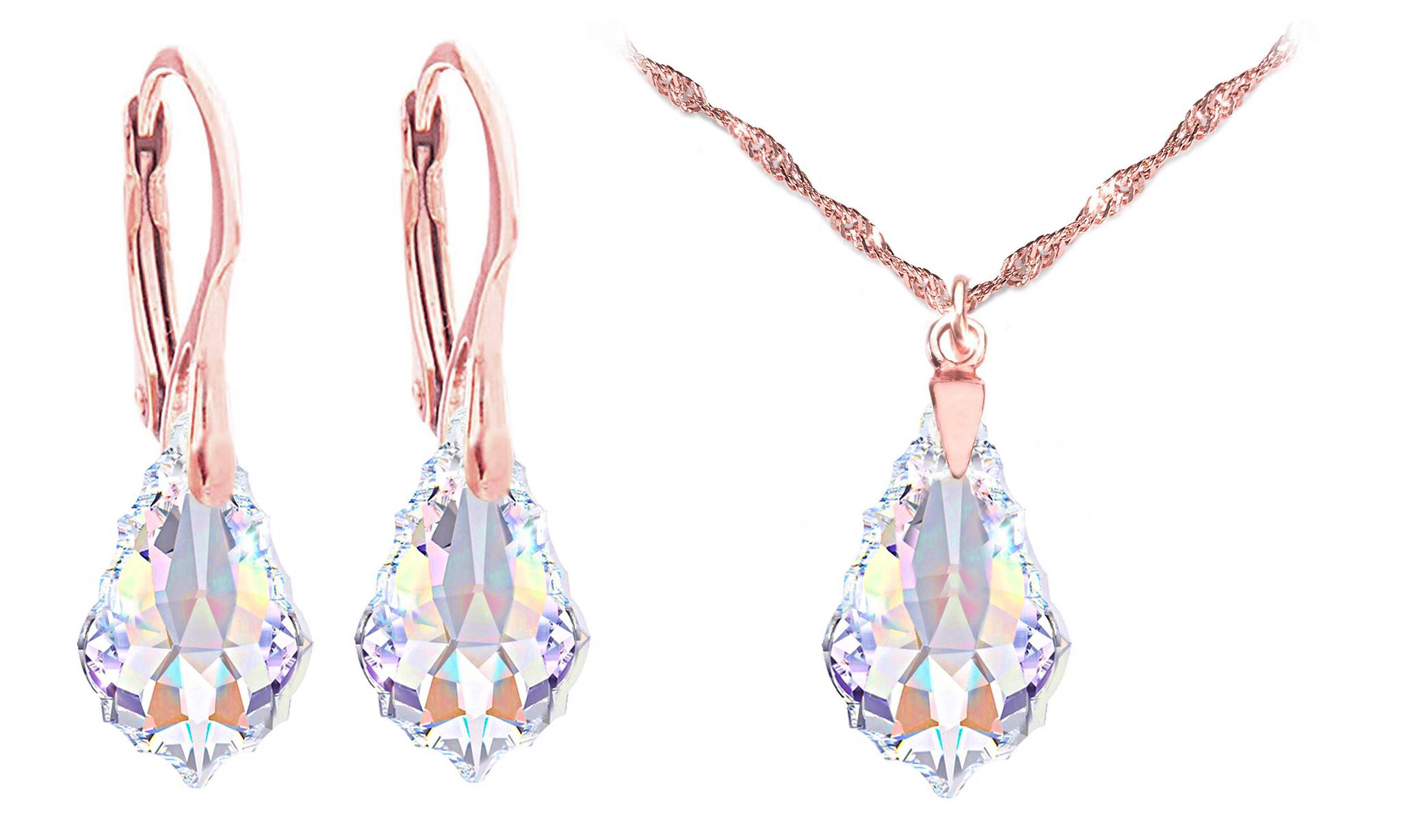 119.00 Ah! Jewellery Baroque Necklace Earrings Set: Aurore Boreale / Earrings and Necklace Set / Rose Gold-Coloured