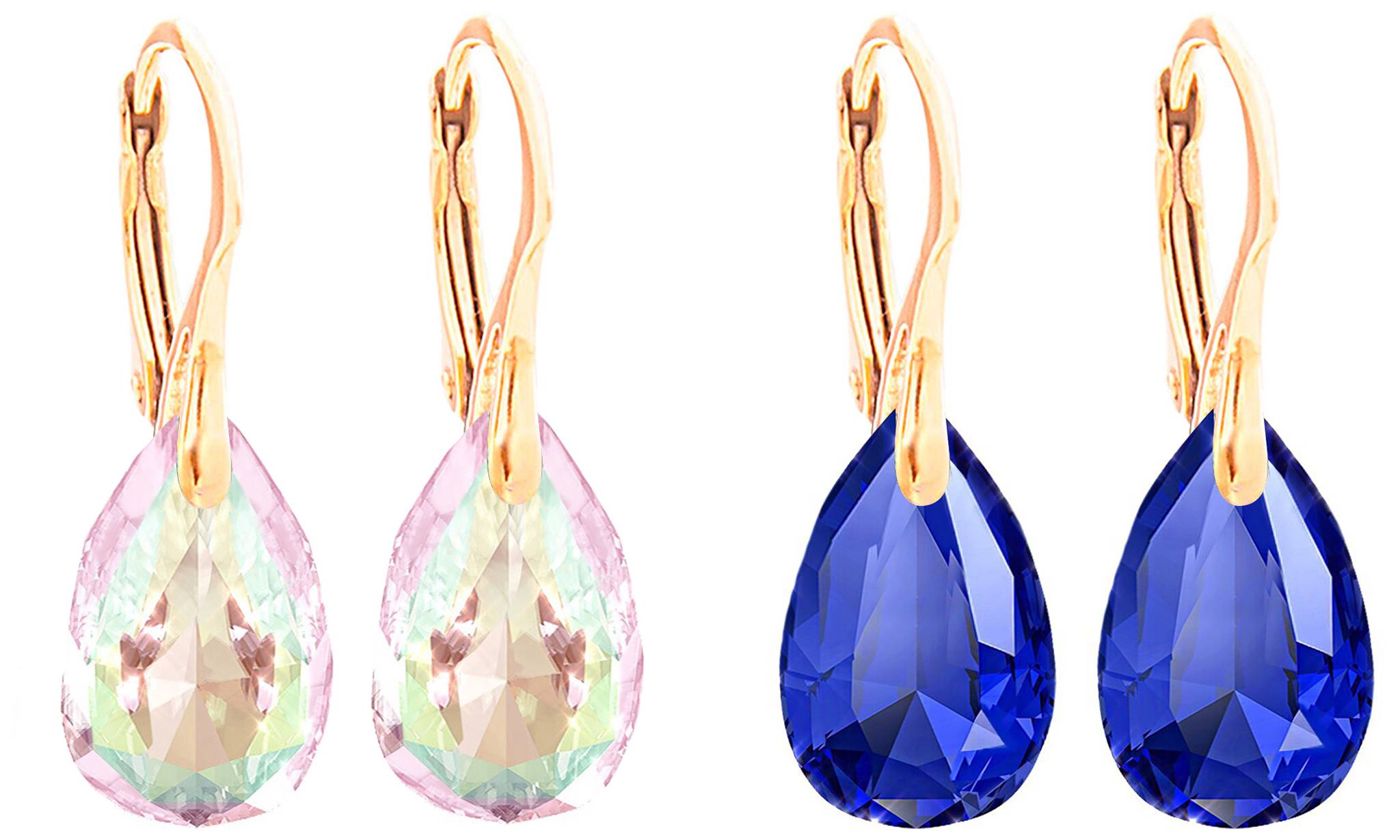 Ah! Jewellery® Ah! Jewellery® Ah! Jewellery Earrings with Crystals from Swarovski®: Two - Majestic Blue and Aurore Boreale