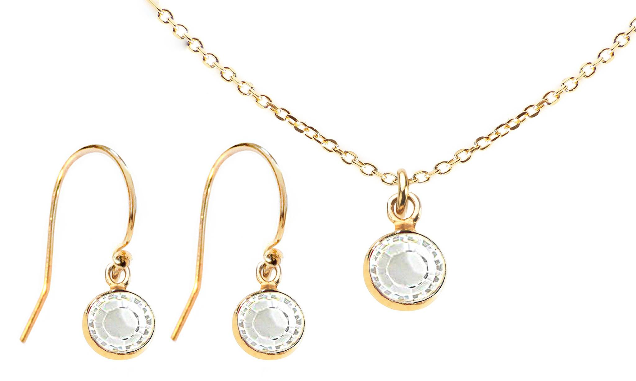 Ah! Jewellery Dangle Set with Crystals from Swarovski®: Clear Crystals/Dangle Set/Gold