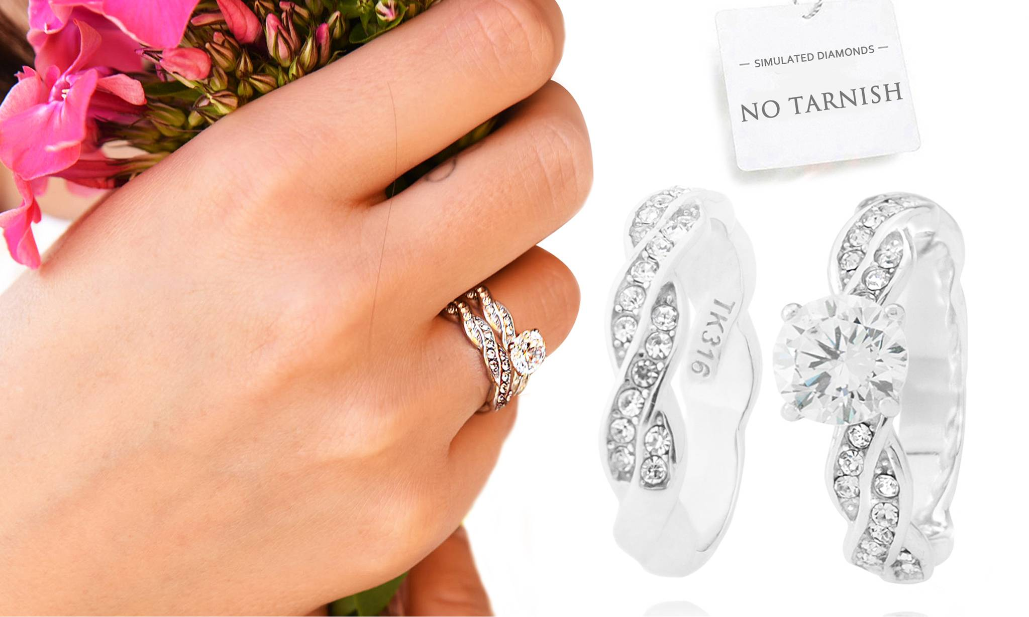 104.99 Ah! Jewellery Rings: Twisted Simulated Diamond Ring and Braided Twist Ring Band / P-Q / Two