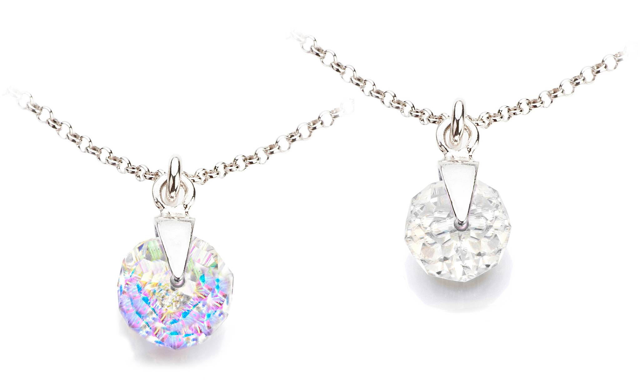 Ah! Jewellery Briolette Necklace: Aurore Boreale, Clear/Two