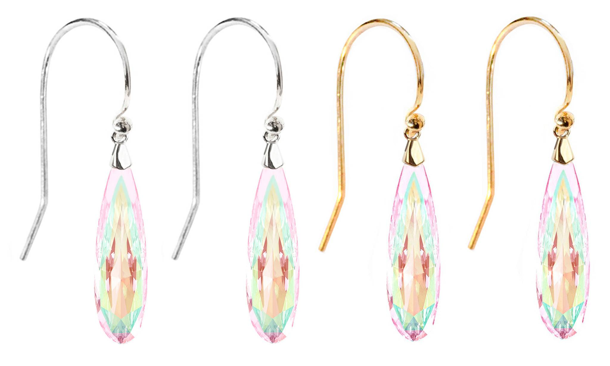 Ah! Jewellery® Ah! Jewellery® Sterling Silver Raindrop Earrings: Aurore Boreale on Gold and Aurore Boreale on Silver