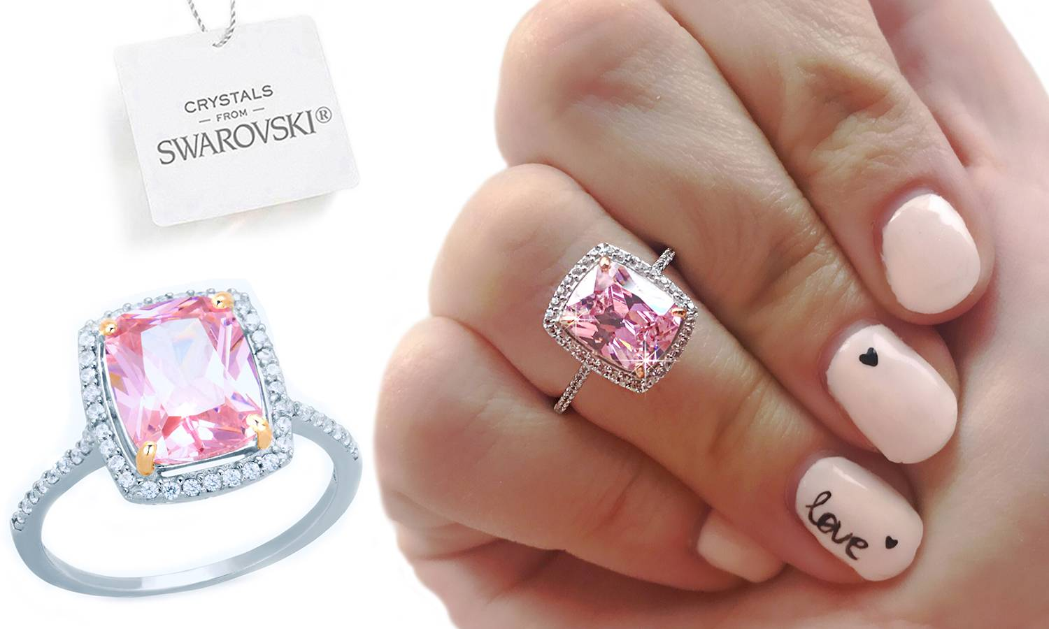 249.00 Ah! Jewellery Sterling Silver Ring with Crystals from Swarovski®: J-K