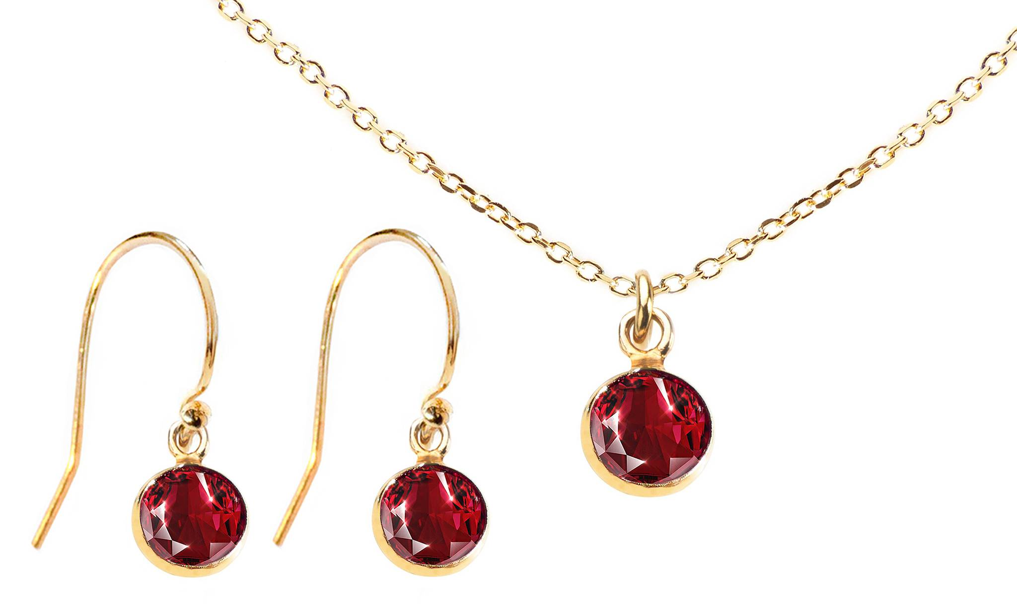 Ah! Jewellery Dangle Set with Crystals from Swarovski®: Siam Crystals/Dangle Set/Gold