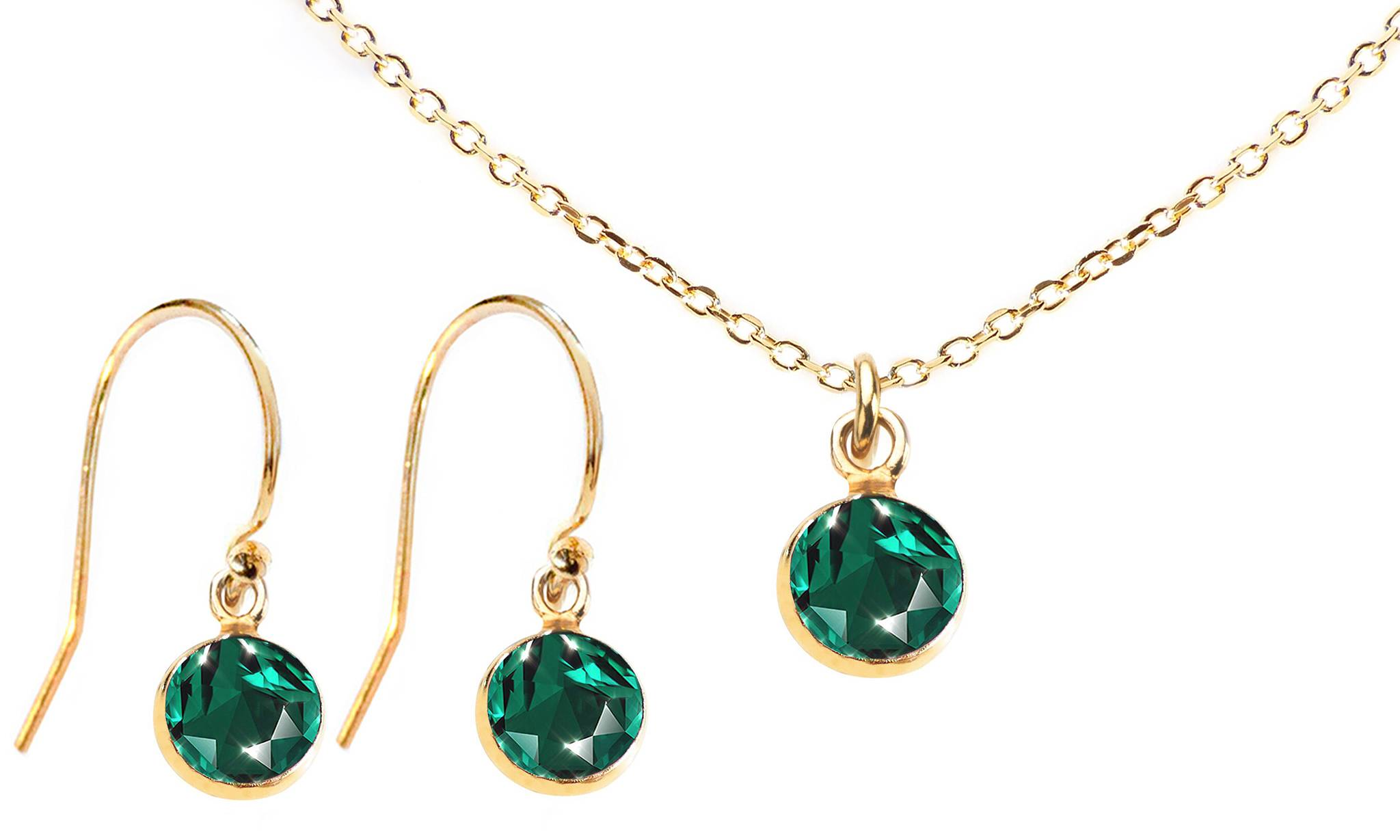 Ah! Jewellery Dangle Set with Crystals from Swarovski®: Emerald Crystals/Dangle Set/Gold