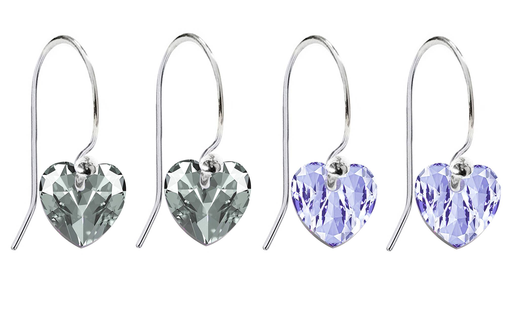 Ah! Jewellery® Ah! Jewellery® Ah! Jewellery Fish Hook Earrings with Crystals from Swarovski®: Lavender and Greige