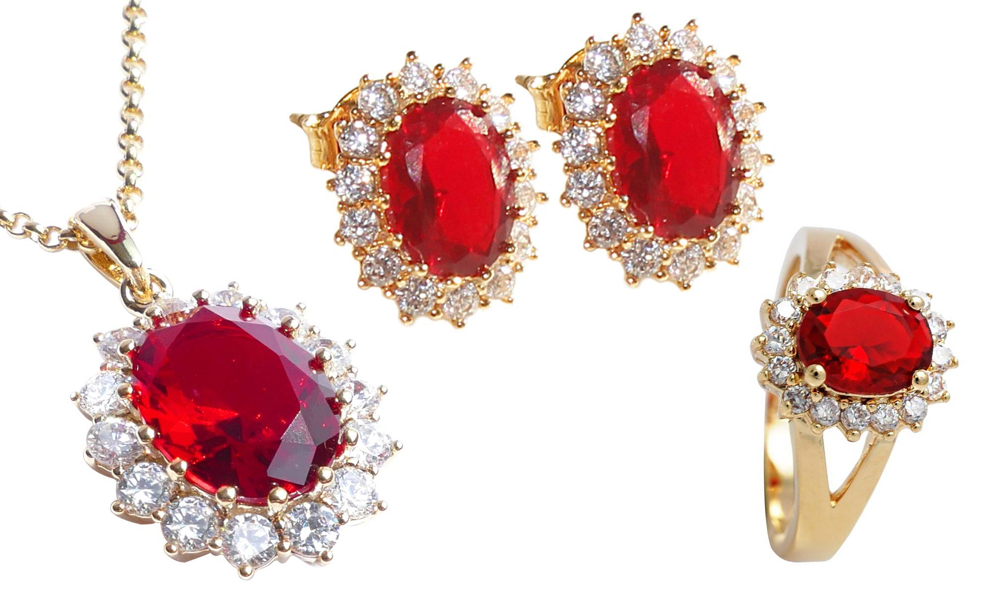 527.00 Ah! Jewellery Ruby Set: Necklace, stud earrings and ring, P-Q