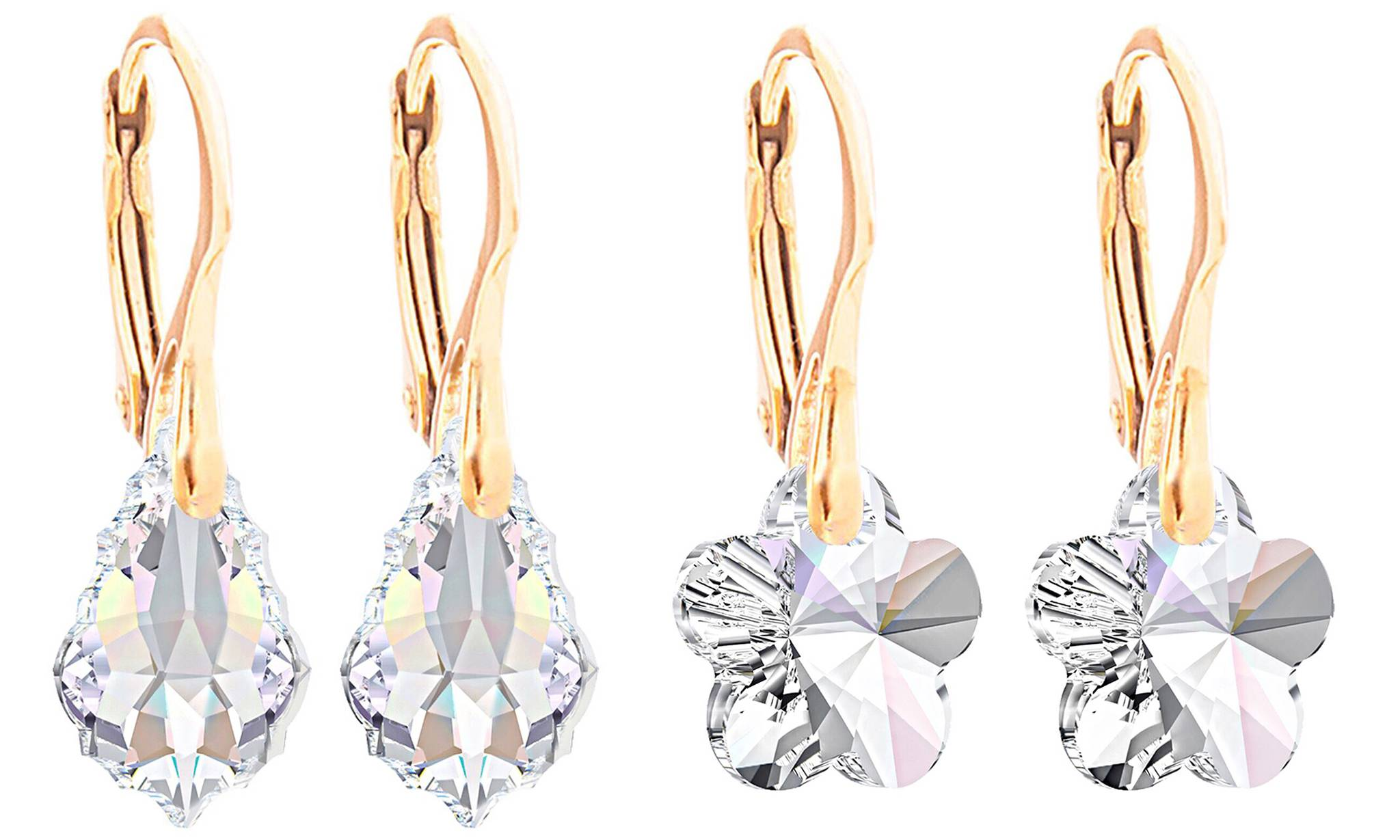 Ah! Jewellery Earrings with Crystals from Swarovski®: Flower, Baroque / Two Pairs