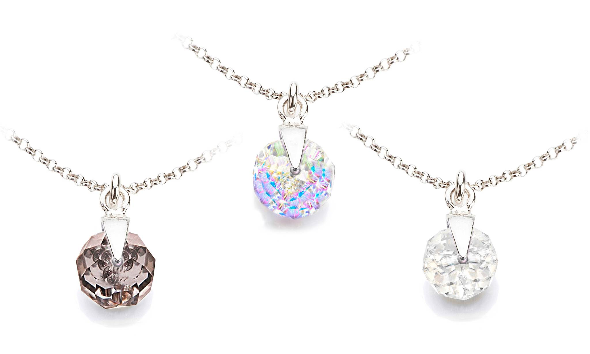 Ah! Jewellery Briolette Necklace: Aurore Boreale, Clear, Silver Night/Three