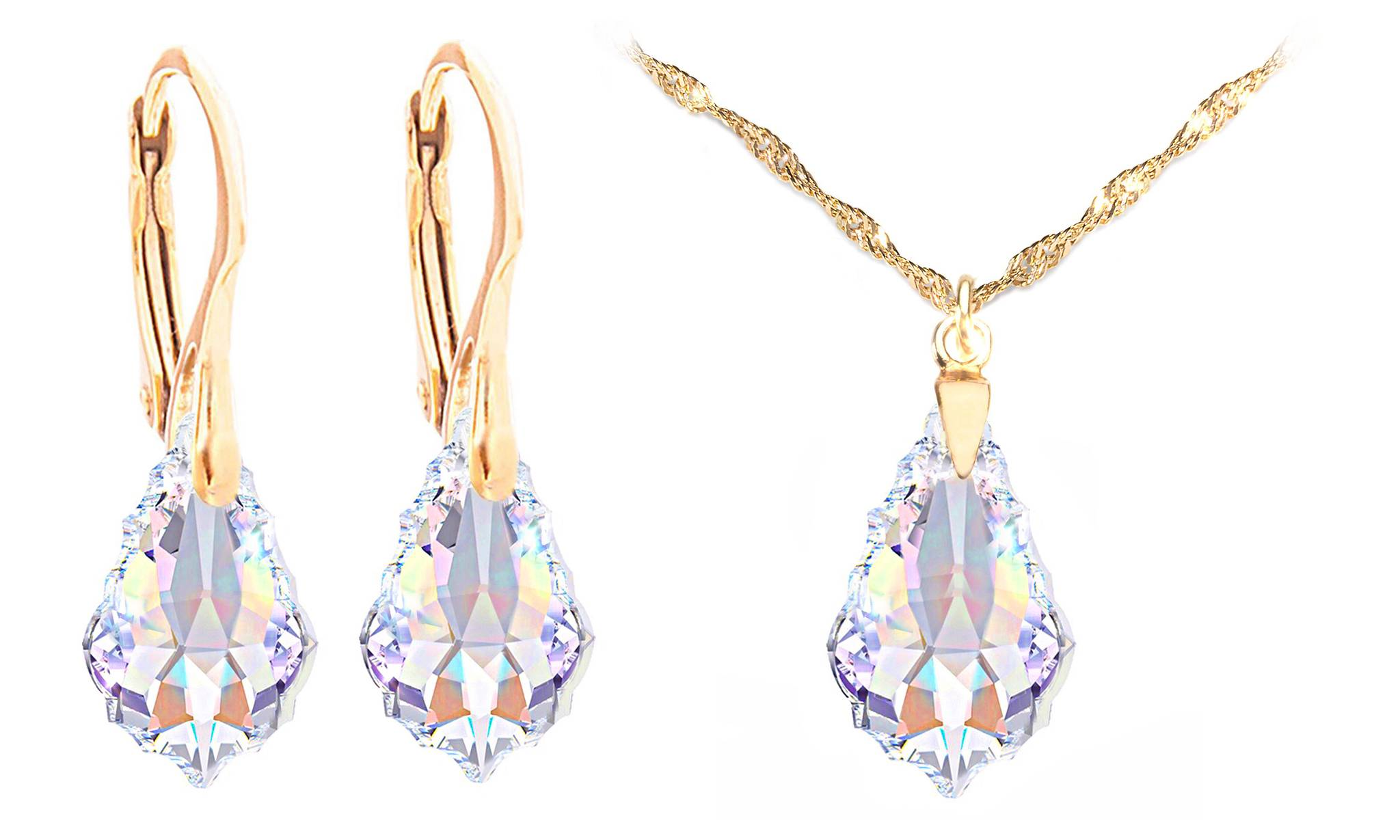 119.00 Ah! Jewellery Baroque Necklace Earrings Set: Aurore Boreale / Earrings and Necklace Set / Gold-Coloured