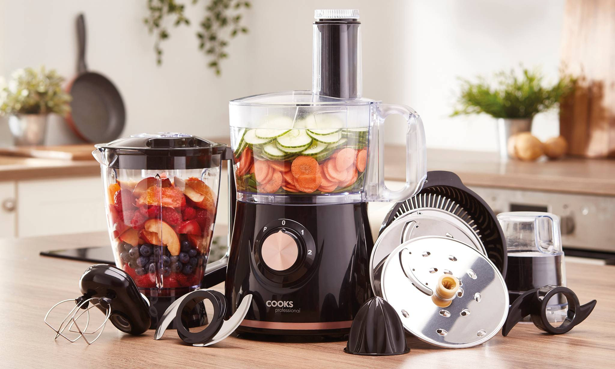 44.99 Multifunctional Food Processor with Accessories: Metallic Rose Gold